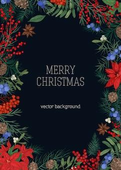 Sfondo natalizio con cornice fatta di rami e coni di conifere