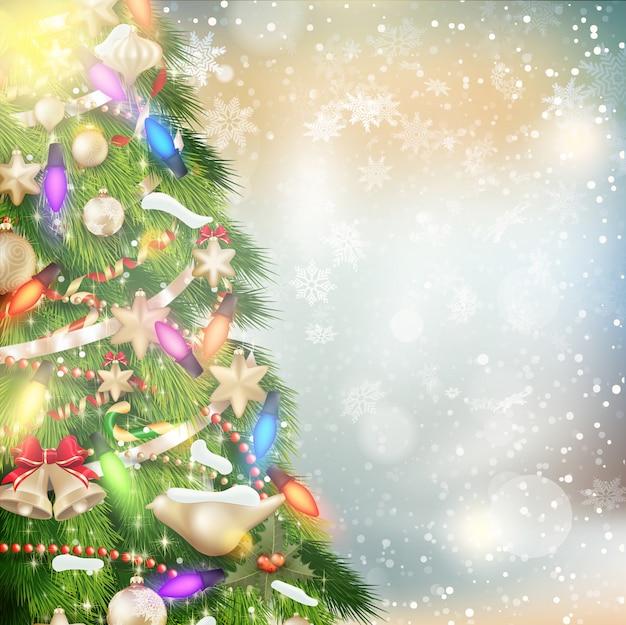 Sfondo di natale di luci sfocate con albero decorato.