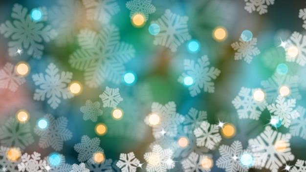 Sfondo natalizio di fiocchi di neve sfocati con riflessi ed effetto bokeh, in colori blu chiaro