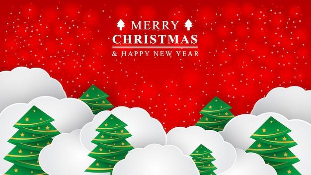 Natale sfondo design e felice anno nuovo banner alberi di natale ed elementi natale