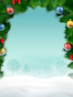 Sfondo di natale in ottima atmosfera con ornamenti