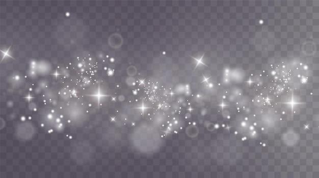 Sfondo di natale polvere png polvere bianca splendente magica cadono particelle di polvere fini e lucenti
