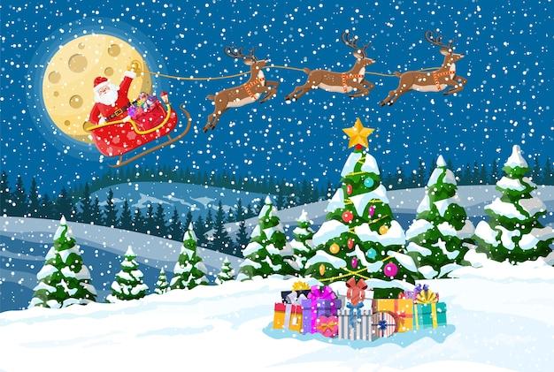 Sfondo di natale. scatole regalo albero, babbo natale cavalca renne slitta.