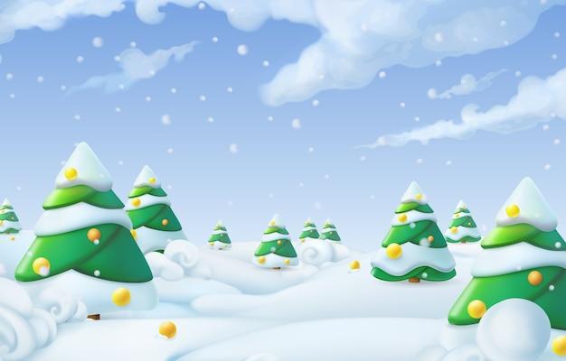 Sfondo di natale. illustrazione del paesaggio invernale