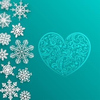 Sfondo di natale con grande cuore e fiocchi di neve su sfondo turchese