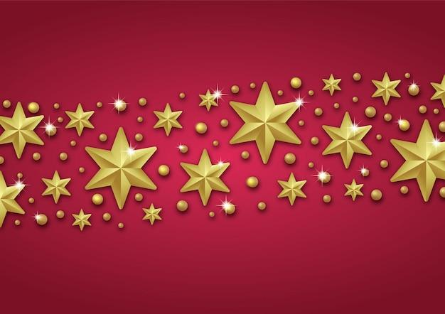 Sfondo di natale con bordo fatto di stelle in lamina d'oro ritagliate e fiocchi di neveauguri di natale