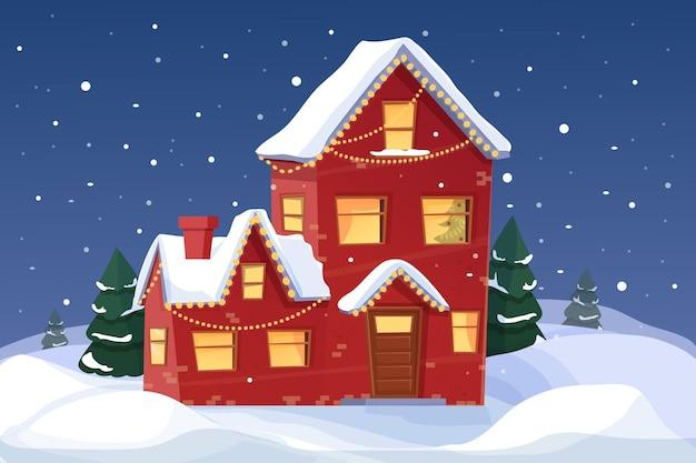 Sfondo di natale con la casa delle fiabe e la foresta nella scena notturna della nevicata in stile cartone animato
