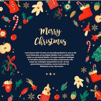 Sfondo natalizio con elementi natalizi in stile contemporaneo