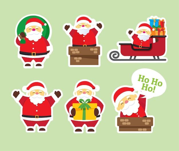 Sfondo di natale con babbo natale merry e christmas set