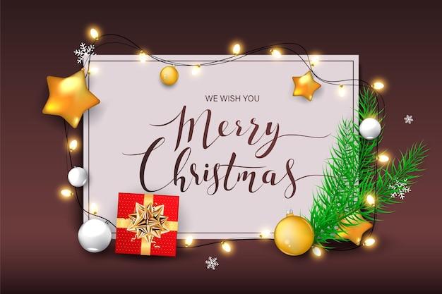Sfondo di natale con brillanti fiocchi di neve d'oro. lettering merry christmas card illustrazione.