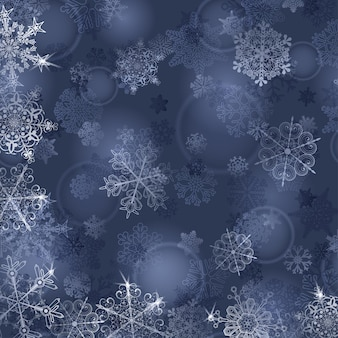 Sfondo di natale con fiocchi di neve nei colori grigio-blu