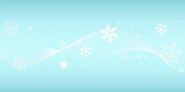 Sfondo di natale con fiocchi di neve e linee ondulate