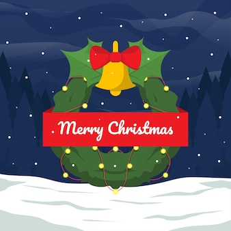 Sfondo natalizio con vista notturna innevata