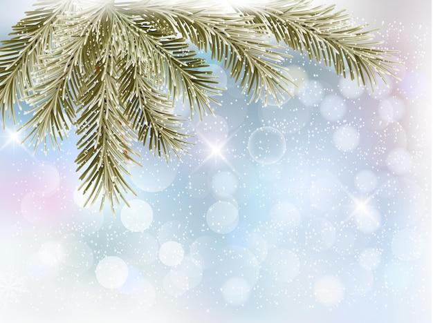 Sfondo di natale con rami di albero e fiocchi di neve.