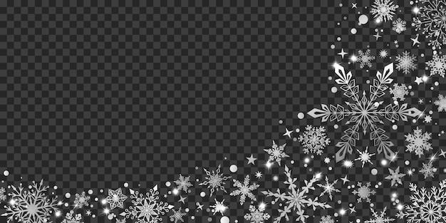 Sfondo natalizio con vari fiocchi di neve grandi e piccoli complessi, bianchi su trasparente