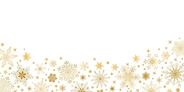 Sfondo natalizio con vari fiocchi di neve grandi e piccoli complessi, gialli su bianco