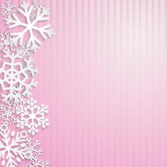 Sfondo di natale con fiocchi di neve bianchi su strisce rosa