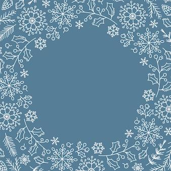 Sfondo di natale con fiocchi di neve di natale, foglie e altri elementi