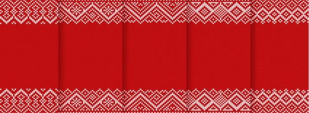 Sfondi di natale con ornamenti geometrici. set di modelli lavorati a maglia. maglia anno nuovo design senza cuciture