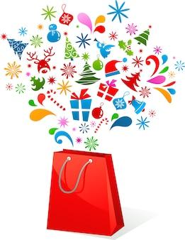 Borsa di natale con molte icone colorate - sfondo di poster, striscioni o biglietto di auguri