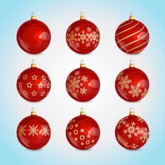 Set di decorazioni per le palle di natale palle di natale rosse in vetro realistico con motivo a fiocco di neve