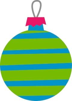 Palla di natale in stile piatto su sfondo bianco decorazione a sfera rotonda per l'albero di natale