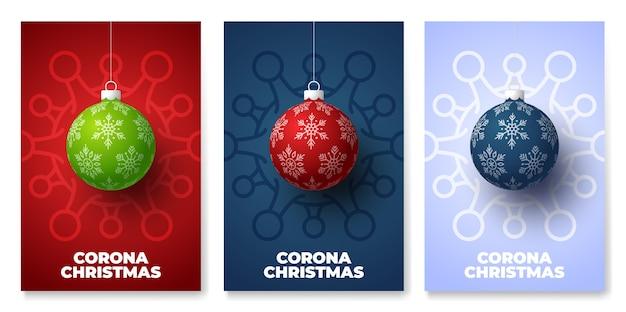 Set di poster di pericolo di coronavirus palla di natale e quarantena
