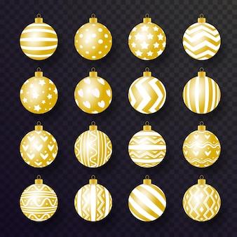 Palla di natale imposta stile realistico in oro con motivi e colori diversi