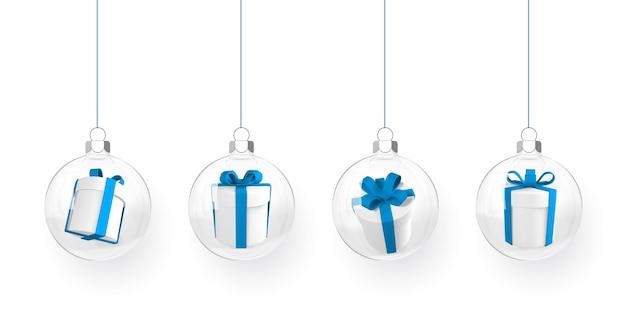 Palla di natale con scatola regalo all'interno. sfera di natale in vetro trasparente. modello di decorazione per le vacanze. illustrazione vettoriale.