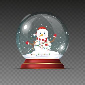 Palla di natale con pupazzo di neve. sfera trasparente di nuovo anno isolata su uno sfondo trasparente.