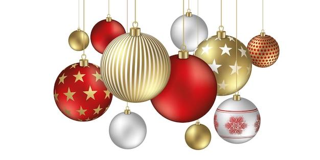 Sfondo di palle di natale con fiocchi festosi e ornamenti di stelle