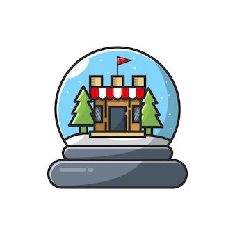 Design del logo delle palle di natale Vettore Premium