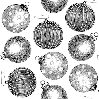 Modello senza cuciture delle palle di natale contesto delle decorazioni dell'albero di natale abbozzato a mano
