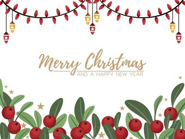 Banner natalizio di rami di bacche di agrifoglio con piccole stelle e lucine su sfondo bianco