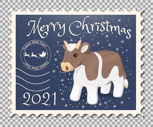 Francobollo di natale banner con toro. personaggio dei cartoni animati del nuovo anno del calendario cinese.