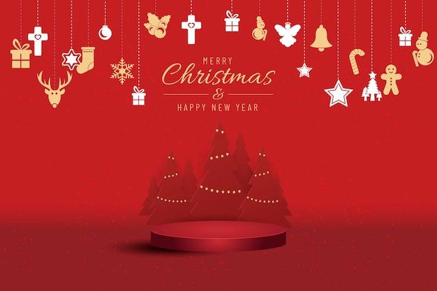 Banner di natale per il presente prodotto con albero di natale su sfondo rosso. testo buon natale e felice anno nuovo.