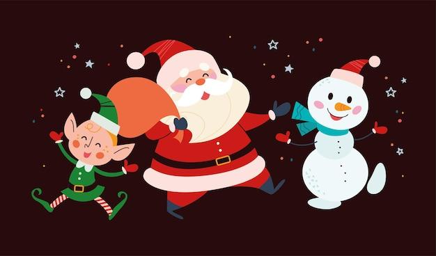 Banner di natale con simpatici personaggi invernali felici su sfondo nero. babbo natale con sacchetto regalo, pupazzo di neve e saluto da elfo. illustrazione piana di vettore. per biglietti, packaging, web, invito, banner.