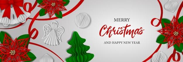 Striscione natalizio con decorazioni in carta