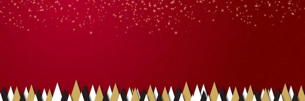 Banner di natale ghirlanda di luci scintillanti di natale con scatola regalo e orpelli dorati su sfondo rosso ho...