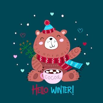 Orso di natale in un cappello lavorato a maglia con una tazza di cacao. ciao inverno. lettering.