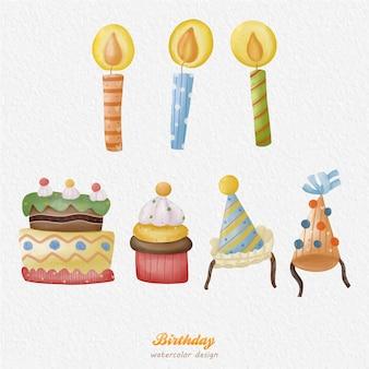 Illustrazione dell'acquerello della torta di compleanno di natale con uno sfondo di carta