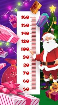 Tabella dell'altezza dei bambini dei regali di natale e di compleanno
