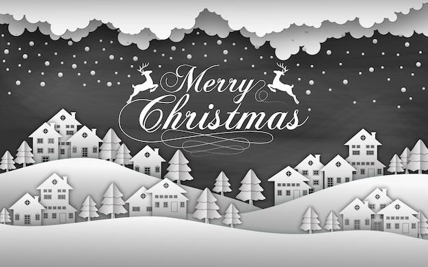 Natale sfondo nero con neve e casa