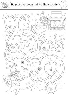 Labirinto di natale in bianco e nero per i bambini. attività educativa stampabile prescolare di capodanno invernale. divertente gioco di vacanze o pagina da colorare con procione carino, camino e calze