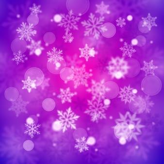 Sfondo sfocato di natale di fiocchi di neve cadenti grandi e piccoli sfocati complessi in colori viola con effetto bokeh