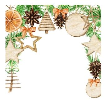 Cornice natalizia boho con rami di pino, bastoncino di cannella, anice stellato, arancia. illustrazione isolata bordi dell'annata dell'acquerello.