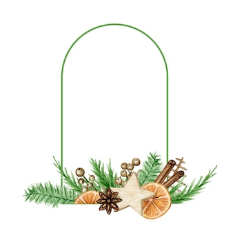 Cornice boho natalizia con rami di pino, bastoncino di cannella, anice stellato, arancia. illustrazione isolata bordi dell'annata dell'acquerello.