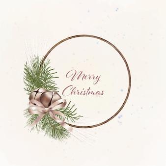 Natale boho corona di legno con rami di pino e campane