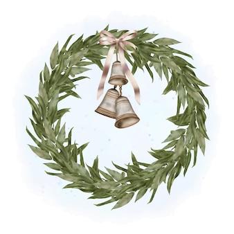 Corona di legno boho di natale con rami di salice, nastro e campane