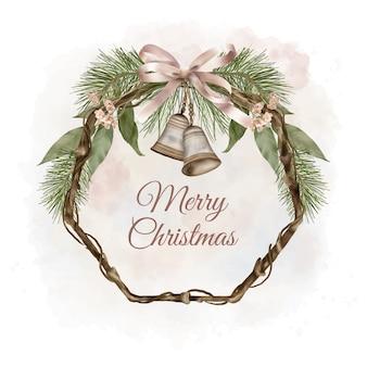 Corona di legno boho di natale con foglie di salice e campane natalizie